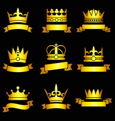 medieval king tiaras gold crowns and ribbon vector image