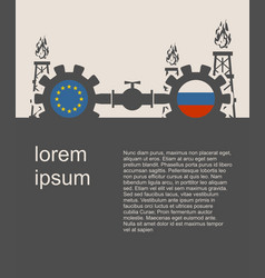 russia and european union flags on gears vector image
