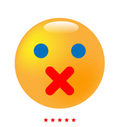 silence emoticon icon different color vector image