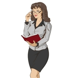 Young beautiful woman teacher holding open book vector image