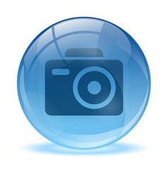 3D glass sphere photo icon vector