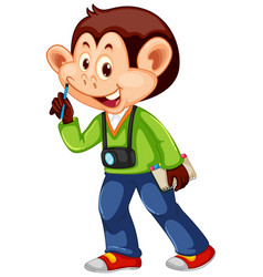 a monkey cameraman character vector image