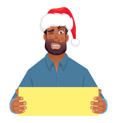 african man in hat holding blank card vector image