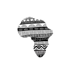 african map silhouette with tribal traditional vector image