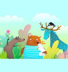 Animals characters friendship portrait vector