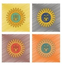 Assembly flat shading style icon emblem of ukraine vector