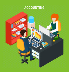 banking accounting isometric composition vector image