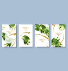 banners set of alocasia tropic leaf vector image