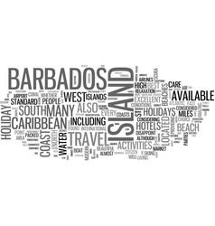 Barbados holidays text word cloud concept vector