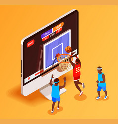 Basketball online isometric concept vector