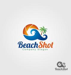 beach shot logo template vector image