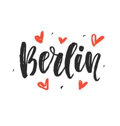 berlin modern city hand written brush lettering vector image
