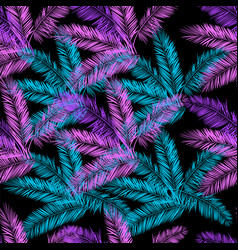 Black blue and purple palm seamless pattern vector