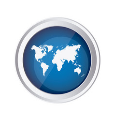 blue emblem earth planet map icon vector image