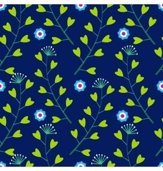 Blue pattern with lowers and Grass vector image vector image