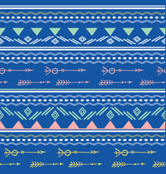 Blue pink tribal arrows seamless pattern vector
