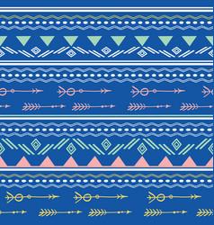 Blue pink tribal arrows seamless pattern vector