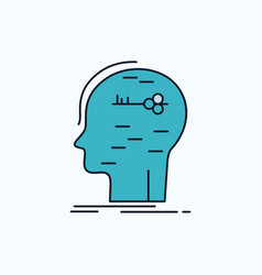 Brain hack hacking key mind flat icon green and vector