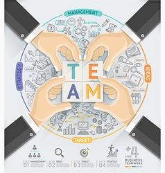 Business hands teamwork infographics template vector