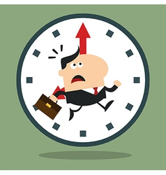 Businessman Running Past a Clock Cartoon vector