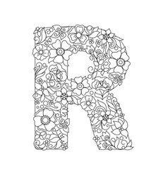 Capital letter r patterned with abstract flowers vector