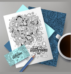 cartoon doodles bathroom corporate identity vector image