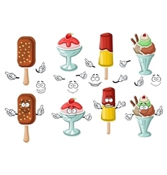 Cartoon tasty colorful ice cream characters vector