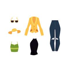 Cartoon woman outfit apparel set vector