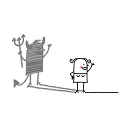 Cartoon woman with devil shadow vector