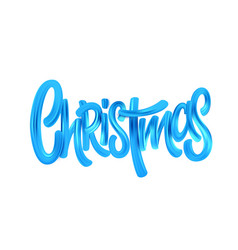 Christmas acrylic paint brush lettering vector