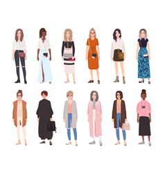 Collection of young women dressed in trendy vector