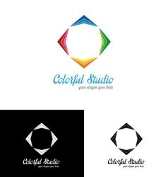 Colorful studio logo template vector