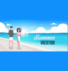 couple man woman sunrise beach summer vacation vector image
