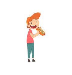 Cute boy eating hotdog child enjoying eating of vector