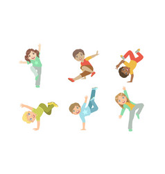 Cute kids dancing break dance set boys and girls vector