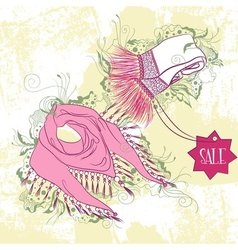 Decorative fashion of womens scarves vector