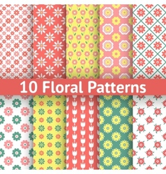 Different floral seamless patterns tiling vector image