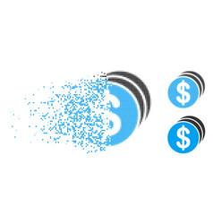 Disintegrating dot halftone dollar coins icon vector