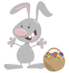 easter bunny with basket eggs cartoon vector image