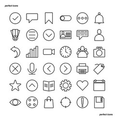 essential outline icons perfect pixel vector image
