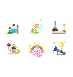 fairytale fantasy magical equipment set potion vector image