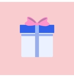 Flat Blue Gift Box Present with Pink Bow vector