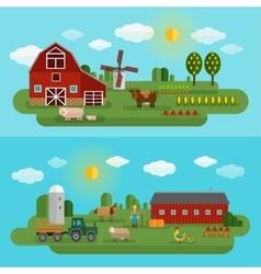Flat Farm Panorama Set vector