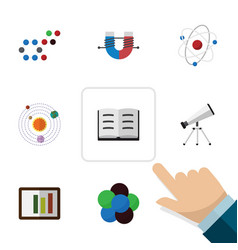 Flat icon knowledge set lecture milky way vector
