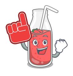 foam finger strawberry smoothie mascot cartoon vector image