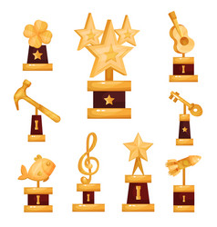 Gold awards statues set collection of golden vector