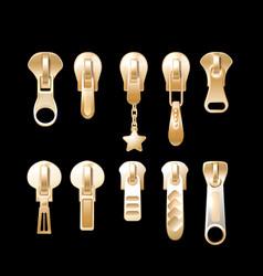 golden pulls metal clothing garment components vector image