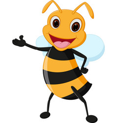Happy bee cartoon vector