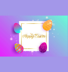 happy easter lettering background vector image