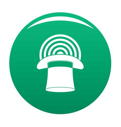 Hat with glow icon green vector